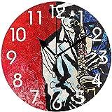 Archiba Reloj de Pared Redondo, Elegante saxofonista de Jazz Pintura Pintura Reloj de Pared Redondo Decorativo, 25cm Reloj silencioso analógico de Cuarzo con Pilas (Rojo Rojo)