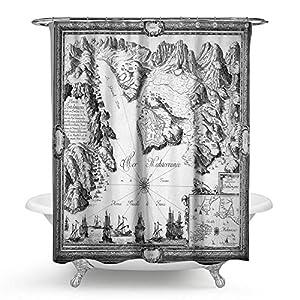 "kisy antiguo mapa del mundo impermeable cortina de ducha de baño antigua brújula mundial montañas histórico mapa del mundo baño cortina de ducha tamaño estándar 70""x 70,"" Retro blanco"