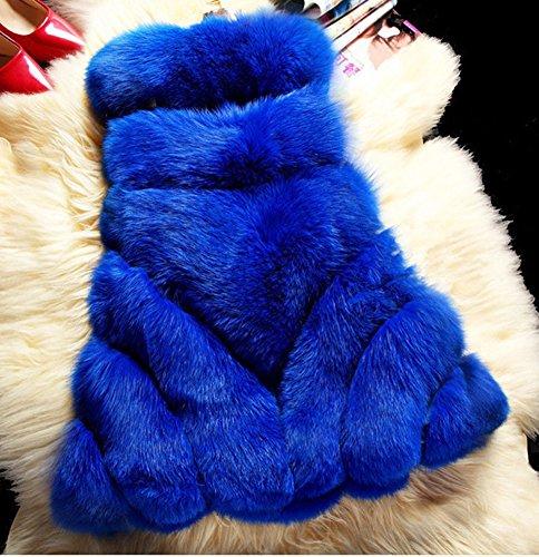 LaoZan - Gilet di Pelliccia Ecologica - Nobile Elegante Affascinante Blu Zaffiroe