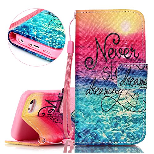 iPhone 5C Hülle, ISAKEN iPhone 5C Hülle Muster, Handy Case Cover Tasche for iPhone 5C, Bunte Retro Muster Druck Flip Cover PU Leder Tasche Case Schutzhülle Hülle Handy Tasche Etui Schale mit Standfunk Rote Blau Meer Sonnenaufgang Never Stop Dreaming