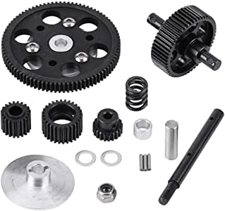 Taidda Gearbox Straight Gears Set,Straight Gears Set Gearbox Straight Gears Set Lightweight Metal Accessory Durable Center Gearbox Straight Gears Set for SCX10 RC Model Car