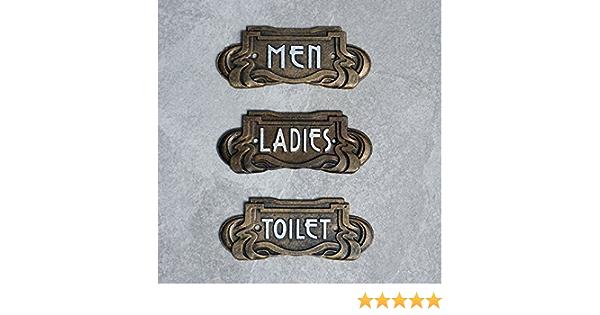 Toilet Signs Men Ladies Art Nouveau Antique Bronze Effect Cast Iron 18.5cm