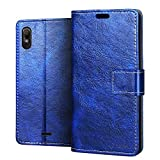 RIFFUE Handyhülle Wiko View 2 Go, Wiko View2 Go Hülle Kunstleder + Silikon Case Retro Briefasche Luxus Leder Falten Kartenslots, Magnetverschluss, Schutzhülle für Wiko View2 Go (5,93 Zoll) - Blau