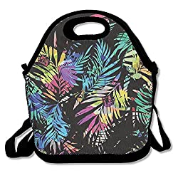 Picnic Bag.K Funky Plam Tree Leaves Insulated Lunch Bag Picnic Lunch Tote