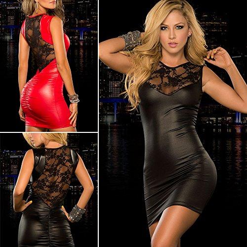 Ostenx Sexy Minikleid Abendkleid Partykleid Elegant Pailletten Auffällig PU Leder Rot+Schwarz