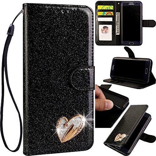 Preisvergleich Produktbild Bookstyle Bling Hülle für Huawei P30 Lite, Glitter Glitzer Diamond Musterg Slim Retro Klassisch Modisch Magnet Ledertasche Stand Funktion Kartenfach Magnetverschluss Flip Wallet Schutzhülle