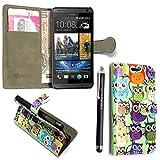 GSDSTYLEYOURMOBILE {TM} HTC DESIRE 510 PU FLIP LEDER HÜLLE ETUI TASCHE SCHALE + STYLUS (Design 01 Multi Owls Book)