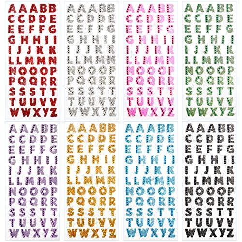 habet Brief Aufkleber für Grad Deckel und Kunsthandwerk, Glitter Selbstklebende Alphabet Aufkleber (8 Blätter) ()