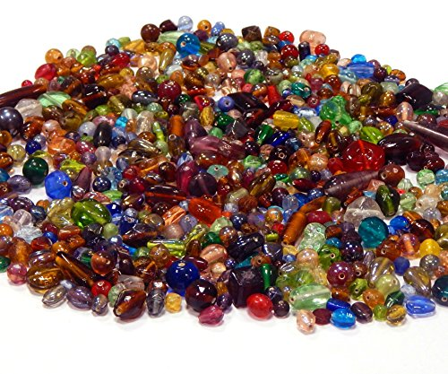 2 Kilo Glasperlen Mix Kit Glas Kinder Perlen Zum Fädeln Silberfolie Lampwork Glasschliffperlen Feuerpoliert Rund Oval Bunte Perlenset Bastelset zur Schmuckherstellung von Halsketten Armband (2000)