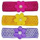 #4: Crochet Cutwork Flower Baby Headband ( Pink , Yellow , Purple ) 3 Pcs Set