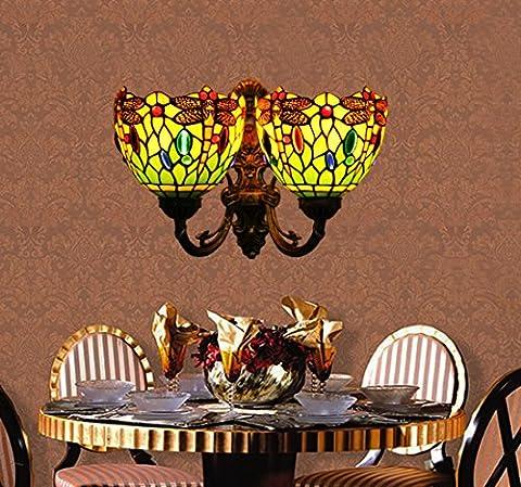 Makenier Vintage en verre style Tiffany Vitrail vert Libellule Lampe murale mur fixation, 17,8cm Double abat-jour