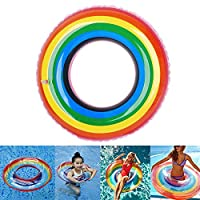 Inflatable Swimming Ring , Rainbow Floating Ring Pool Toys 2 Sizes for Adult and Kids