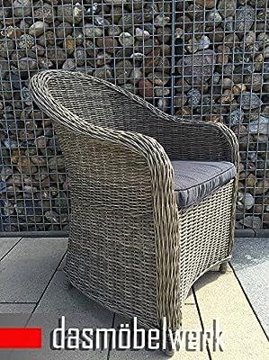 dasmöbelwerk Polyrattan Stuhl mit Sitzpolstern Rattan Stuhl Relax Sessel Gartenmöbel Gartenstuhl PANAMA Grau von dasmöbelwerk auf Gartenmöbel von Du und Dein Garten