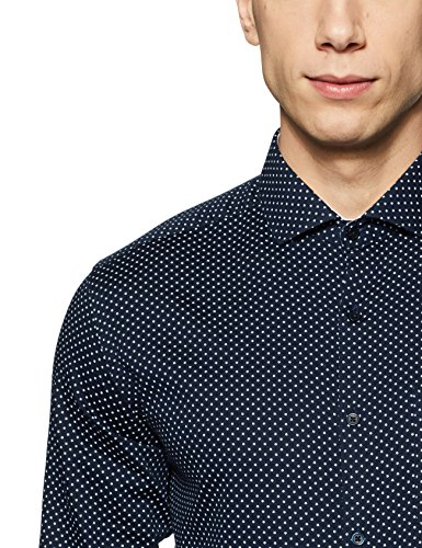 Diverse Men's Printed Regular Fit Cotton Formal Shirt (DVF06F2L02-546B_Navy_42)