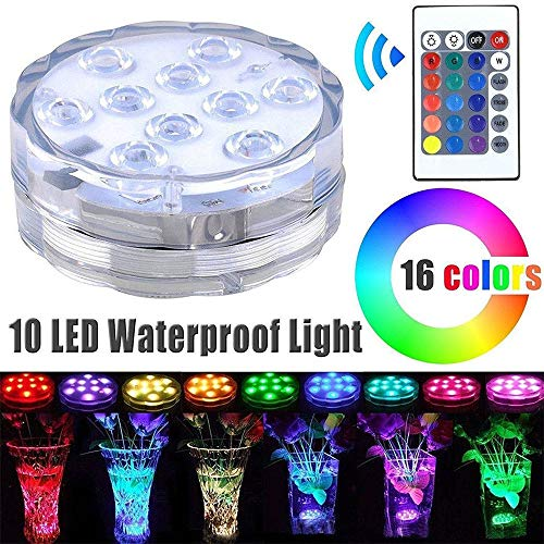 hten mit Remote Control RGB Waterproof Pool Lights für Vase Base Aquarium Pond Garden Fish Tank Family Party Dekorative Lichter Hochzeit Halloween Halloween Party ()