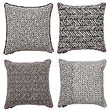 McAlister Textiles Aztec Kollektion   4er Set Black & White Zierkissen mit Füllung Verschiedene Designs 40cm x 40cm   Deko Kissen für Sofa, Couch, Bett