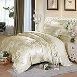 Nclon Europäischer Stil Seide Jacquard Satin Baumwolle Bettwäsche,Eine vierköpfige Familie 200 * 230cm Bettwäsche garnitur Baumwolle Bettbezug Bettlaken Kissenbezug Luxus-O 1.2m(4inch) 150 * 200cm
