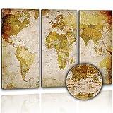 XXL Kunstdruck - Antike Weltkarte 120x80cm; 3 teilig - im Retro Look auf Canvas Leinwand - Bilder fertig aufgespannt auf Keilrahmen