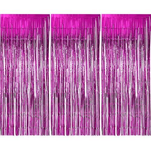 3 Packung Metallic Tinsel Vorhänge, Folie Fringe Shimmer Vorhang Tür Fenster Dekoration für Geburtstag Hochzeit (Rosa Rot)
