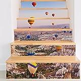 Frolahouse Backsplash Tile Aufkleber, kreative 3D Heißluftballon DIY Treppen Aufkleber Wasserdicht schälen und Stick Home Decor StairCase Aufkleber Treppe Wandtattoo für Marmor Badezimmer Küche 18x100cm * 6 PCS