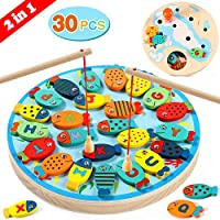 Lewo 2 In 1 Fishing Game 30 PCS Wooden Magnetic Alphabet Letter Fishing Toys for 3 4 5 Year Old Girls Boys Kids Toddles Birthday Learning Educational Toys with Magnet Poles