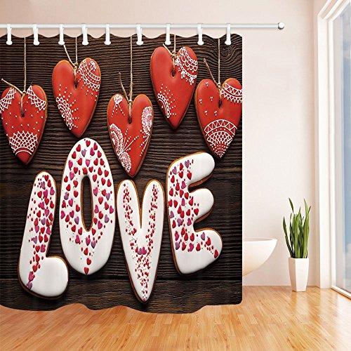 nyngei Valentine 's Day Vorhang für die Dusche zum Aufhängen in Herzform Love Creative Romance Druck Badezimmer Polyester-Schimmelresistent-Wasserdicht Duschvorhang Set mit Haken 180x 180cm - Runde Rod Druck-vorhang