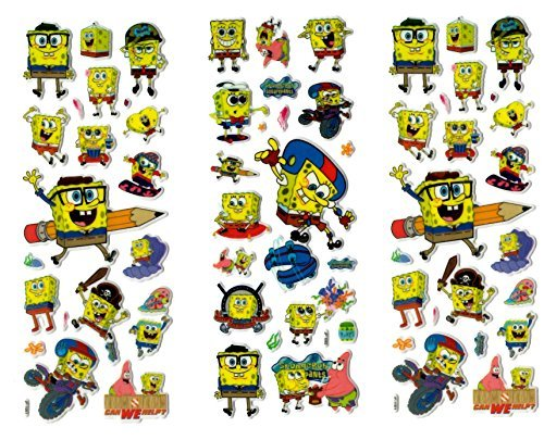Image of 6 x Sticker Sheets - Ideal for Party Bags - Plants Vs Zombies, Angry Birds, Ben 10, Smurfs, Spiderman, Disney Princess, Frozen Stickers Elsa Stickers (Spongebob)