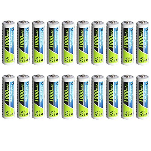 PowerDriver 1000mAh AA NiCD Ni-CD Batteria Ricaricabile per macchine fotografiche digitali, telecomandi (Confezione da 20 Pezzi)