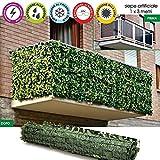Bakaji Siepe Artificiale Sintetica 1x3 metri Rotolo Copertura Balcone foglie Edera Anticaduta Rete Recinzione Ringhiera Giardino in Rotolo Verde