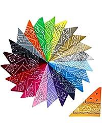 Cotton Mixed Colour Paisley Bandana Head Scarves + 1 Sunburst (12 Pack)