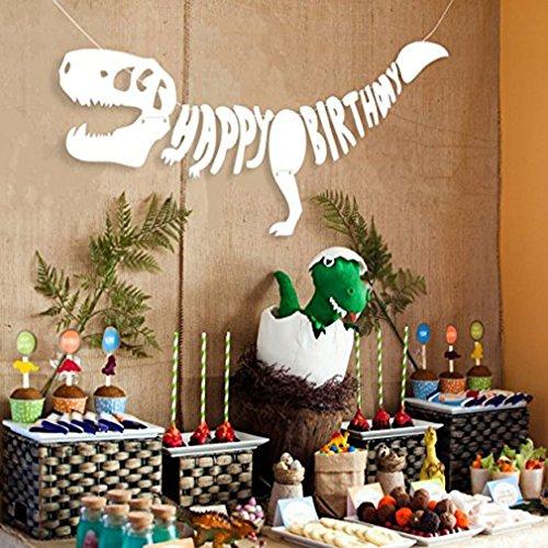 Yinew 3D Dinosaurier Alles Gute zum Geburtstag Banner Dinosaurier Party Supplies Dekorationen PREMIUM Dinosaurier Dekorationen