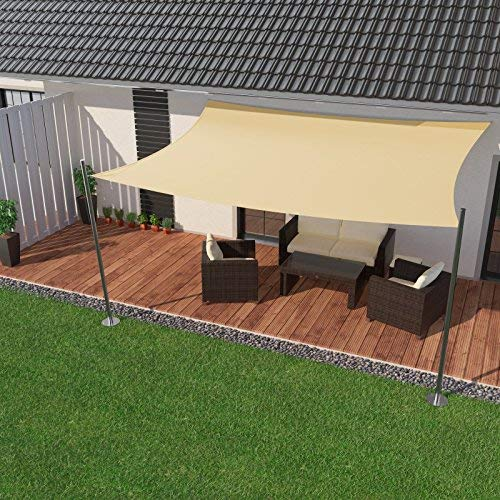 IBIZSAIL Sonnensegel wasserabweisend Sonnenschutz für Garten Balkon aus PES viereckig(rechteckig) - 500 x 300 cm - Creme (inkl. Spannseilen)