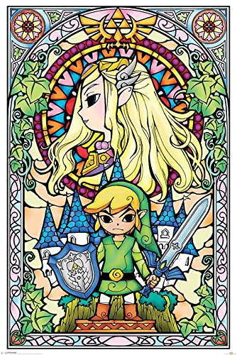 The Legend Of Zelda Stained Glass Maxi Poster, Wood, Multi-Colour
