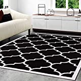 A2Z RUG Trellis Rugs Black 160x230 cm - 5'2''x7'5'' ft Trendy Collection Area Rug