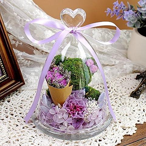 Glaskuppel Rose Abdeckung Moss tragen Valentinstag Geburtstag mit Geschenkbox, mütterliche Liebe (Krone Für Weihnachten Szenen)