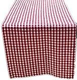Tischdecke Tischläufer 50x150 cm Eckig Polyester Tischband Rot Weiß Kariert Baumwolloptik Garten Balkon Küche Esszimmer rustikales Landhaus (Tischläufer 50x150 cm rechteckig)