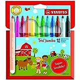 STABILO Trio Maxi Jumbo Pochette de 12feutres de coloriage Super lavables