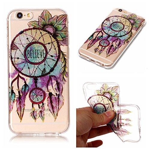 Linvei iPhone 6 Plus/6S Plus(5.5inch) Coque,Design Motif Coloré / Ultra Mince TPU Silicone Design Antichoc et Anti-Scratch Housse pour iPhone 6 Plus/6S Plus(5.5inch) - Rouge de Tournesol Plume Vintage Dreamcatcher Motif