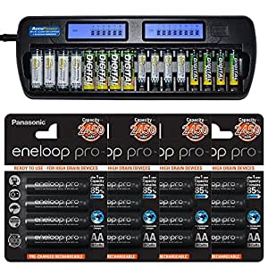 AccuPower Caricabatteria per 16 NiMH/NiCd AA, AAA batteries incl. 16x Eneloop PRO