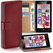 OneFlow PREMIUM - Book-Style Case case in a wallet design with stand function - for Nokia Lumia 520 / 525 - MAROON-RED