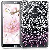 kwmobile Funda transparente para Samsung Galaxy Tab A 10.1 (2016) carcasa de silcona TPU para tablet funda protectora con Diseño sol indio en rosa claro blanco transparente