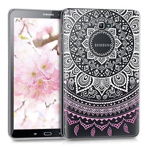 kwmobile Hülle für Samsung Galaxy Tab A 10.1 (2016) - Case Handy Schutzhülle TPU Silikon für Tablet - Backcover Cover klar Rosa Weiß