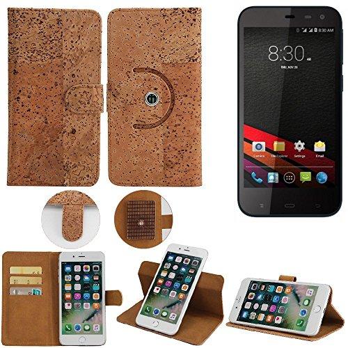 K-S-Trade Schutz Hülle für Phicomm Clue M Handyhülle Kork Handy Tasche Korkhülle Schutzhülle Handytasche Wallet Case Walletcase Flip Cover Smartphone