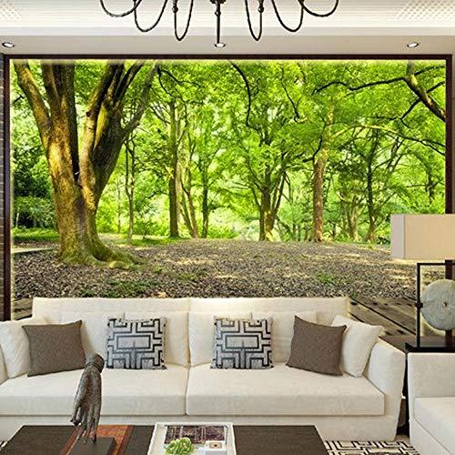 3D tapete Wandbilder Grüne Waldbäume Foto Schlafzimmer Wohnzimmer TV Sofa Hintergrund Wand Vlies Stroh Textur Brauch 350x256cm