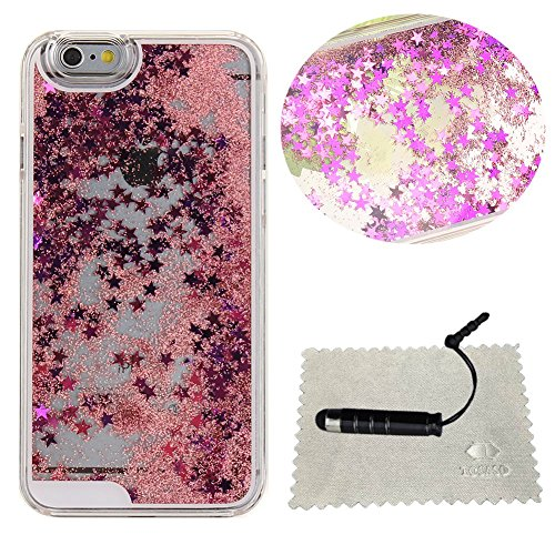 Cover iPhone 6 Plus Transparente,TOCASO Pink Crystal Clear Bling Sparkles