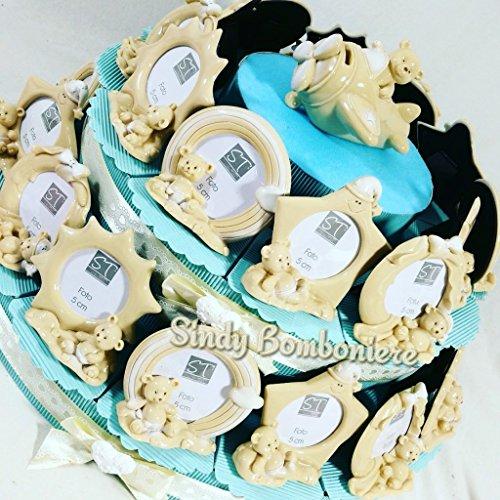 Cornice portafoto per bomboniere Battesimo Maschietto Torta portaconfetti (Torta da 12 fette)