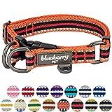 Blueberry Pet 1,5cm S 3M Reflektierendes Bunt Gestreiftes Orange und Schwarz Hundehalsband für Kleine Hunde