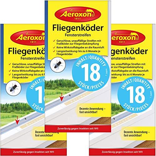 Aeroxon - 54x Fliegenstreifen, Fliegenköder, Fliegen-Fensterstreifen gegen fliegen, Mücken etc. im Haus (3x18 Stück -Streifen)