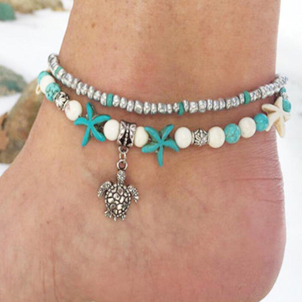 Jovono – Tobilleras simples, multicapa, cadena de pies, colgante de tortuga, adorno de pie, tobilleras, pulseras para mujeres y niñas