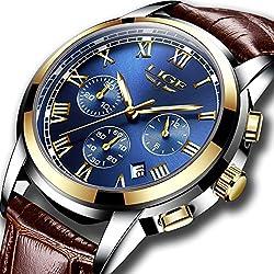 Reloj de pulsera analógico para hombre, elegante, para negocios, e vestir, resistente al agua, de cuarzo, deportivo